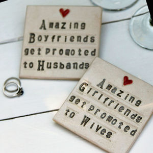 Girlfriend To Wife Ceramic Coaster Engagement Gift - placemats & coasters
