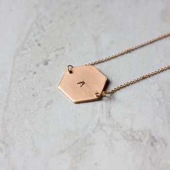 Copper Hexagon Necklace
