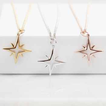 Hope Star Open Necklace In Silver, Gold Or Rose