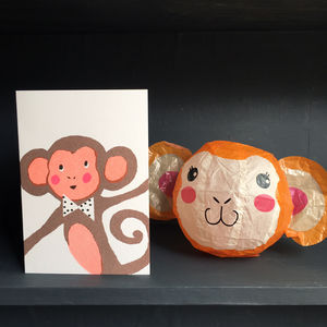 Monkey Paper Balloon Greeting Card