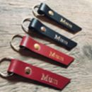 Leather Keyring Personalised With 'Mum'