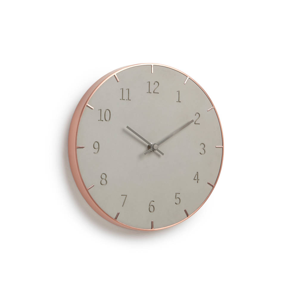 Concrete And Copper Wall Clock