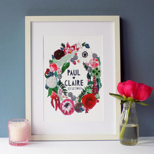Personalised Couples Autumn Flowers Papercut Print - nature & landscape