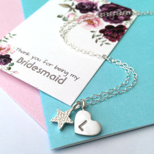 Bridesmaid Initial Heart Necklace