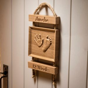 Personalised Baby Handprint In Oak - wall hangings for children