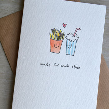Personalised 'Fast Food In Love' Hand Illustrated Card