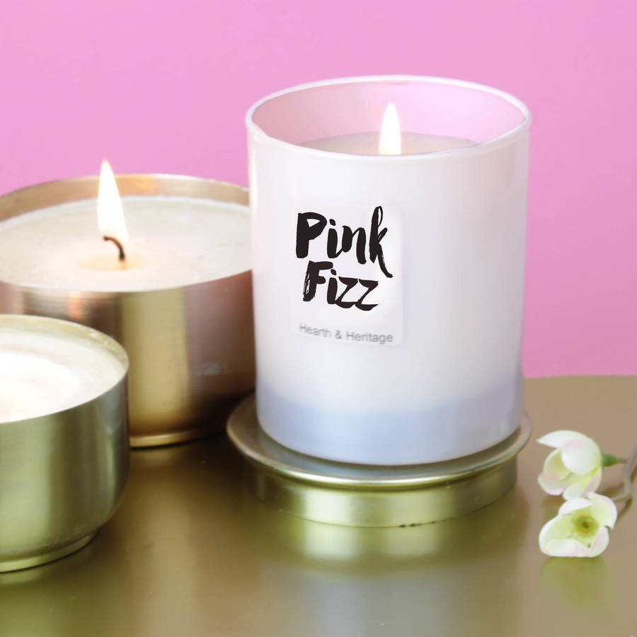 ... HEARTH & HERITAGE > PINK FIZZ SCENTED CANDLE IN A PEARLISED PINK G...