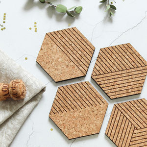 Cork Coasters Set Of Four, Cork Hexagons - view all new
