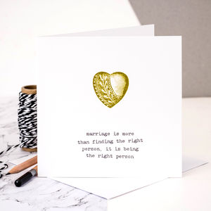 Wedding Anniversary Card; Marriage Quote - cards sent direct
