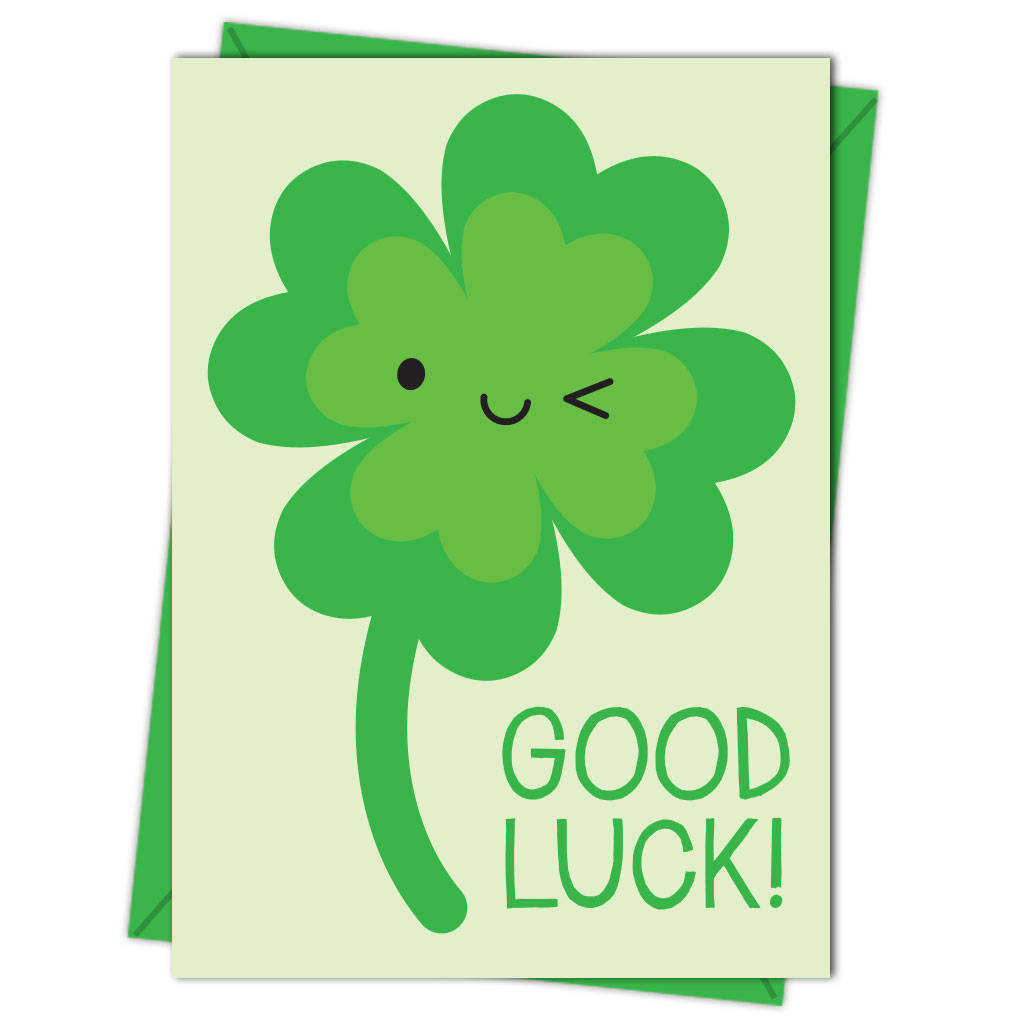 Kawaii Lucky Four Leaf Clover 'good Luck' Card By Asking