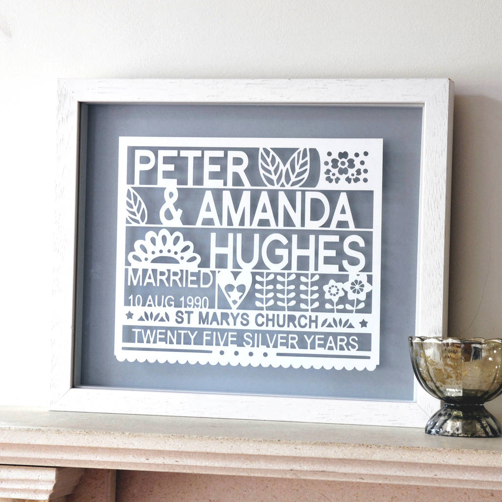 Personalised 25th Silver Wedding Anniversary Gift & personalised 25th silver wedding anniversary gift by ant design ...