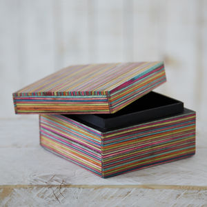 Dhari Fair Trade Handmade Striped Trinket Box - cufflink boxes & coin trays