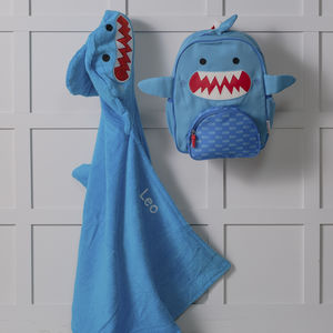 Personalised Sherman Shark Hooded Towel And Backpack - shop by price