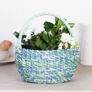 Biodegradable Curaco Blue Woven Storage Basket - office & study