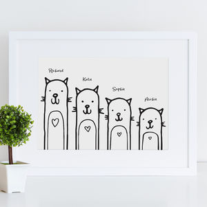 Family Cats Print Personalised