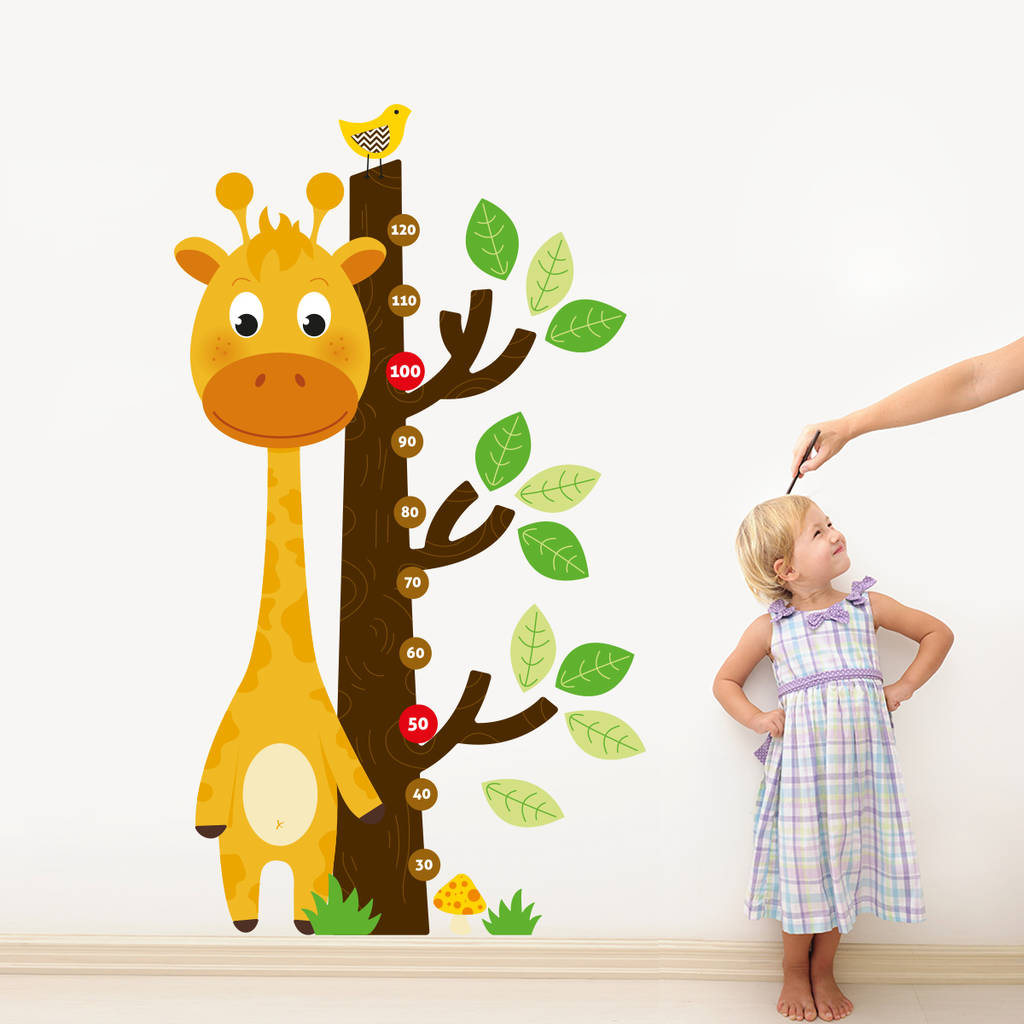 Giraffe and tree growth chart wall decal sticker set by sirface