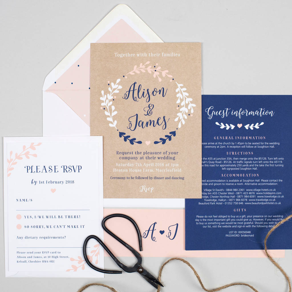 navy and nude pink \'hannah\' wreath wedding invitations by project ...