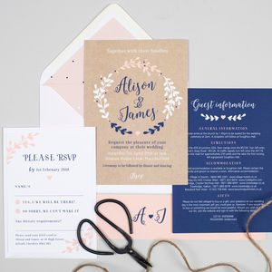 Navy And Nude Pink 'Hannah' Wreath Wedding Invitations - invitations