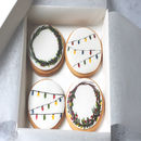 Christmas Wreath And Party Lights Cookies Box Of Eight