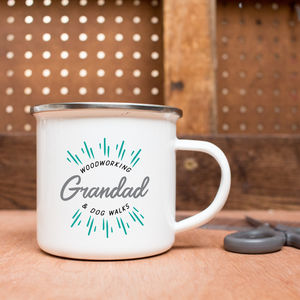 Personalised Grandad's Favourite Things Enamel Mug