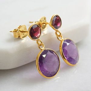 Sweetie Double Drop Earrings With Garnet And Amethyst - christmas catalogue