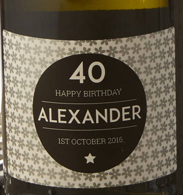40th Birthday Personalised Prosecco And Wooden Gift Box Flower Label