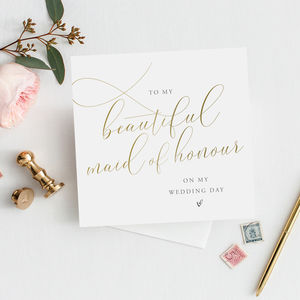 To My Maid Of Honour Thank You Card | Gold Script