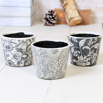 Sets Of Three Ceramic Parisian Crackle Planters