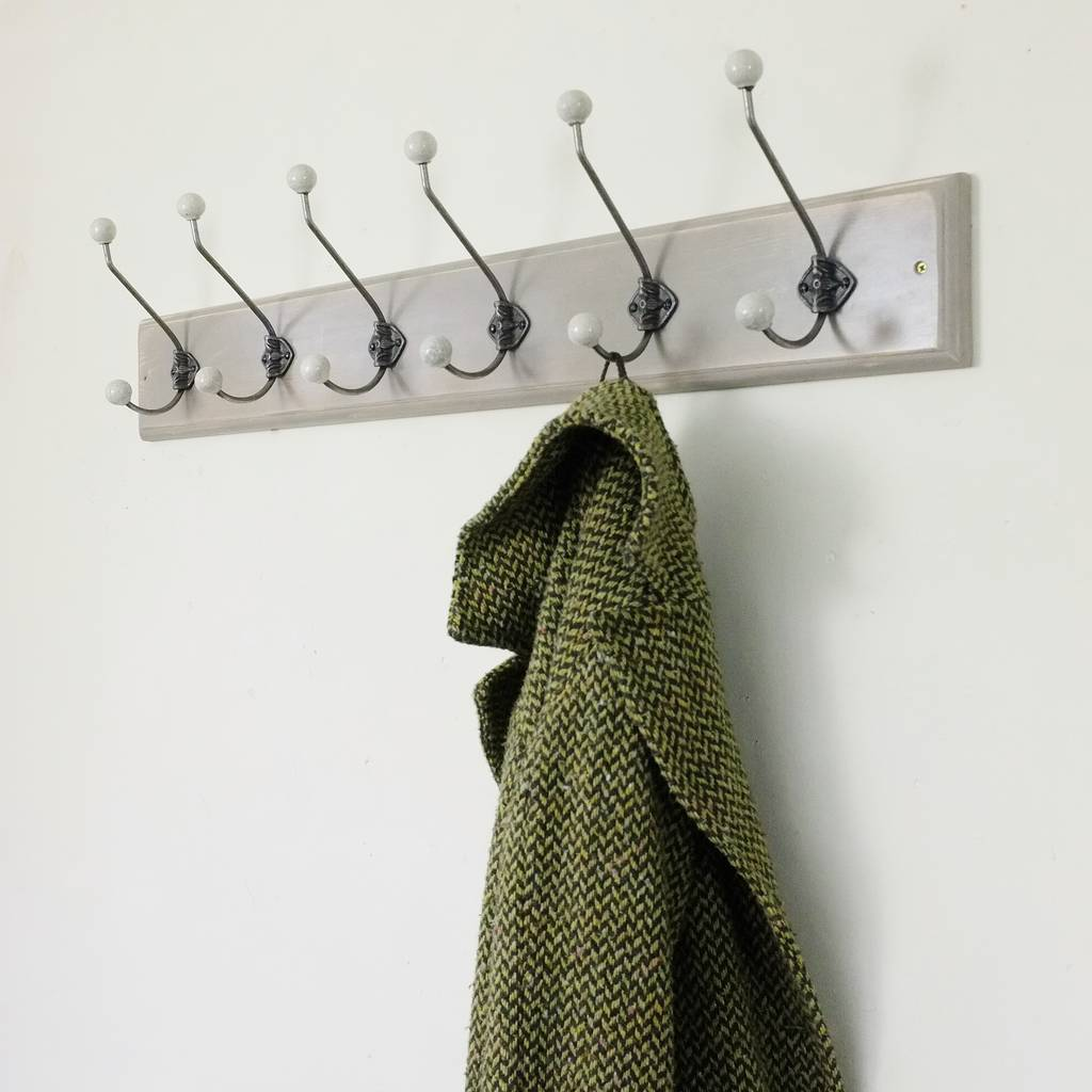 Traditional Vintage Painted Wooden Coat Rack By Seagirl
