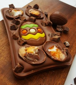The Easter Creme Egg Brownie Chocolate Slab