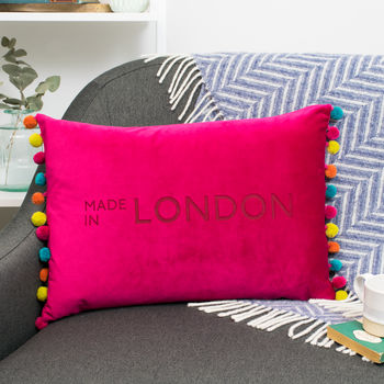 made in London velvet cushion