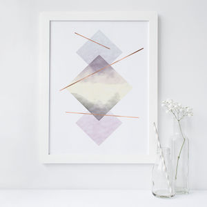 Ombre Geometric Art Print - modern & abstract