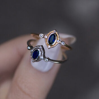 Detailed Royal Blue Quartz Ring In Silver Or Gold