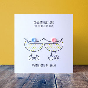 Newborn Twins Congratulations Button Card - new baby cards
