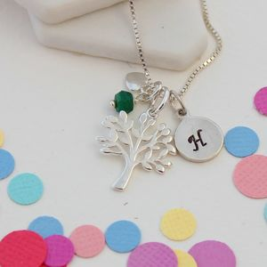 Mini Silver Tree Of Life Necklace With Birthstones - birthstone jewellery gifts