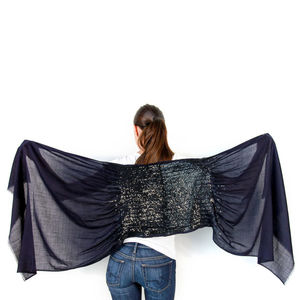 Womens Sequin Scarf, Amelie, Navy/Black, Custom Colours - women's accessories
