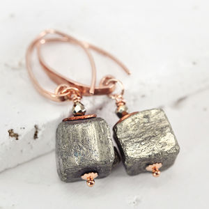 Rose Gold And Pyrite Earrings