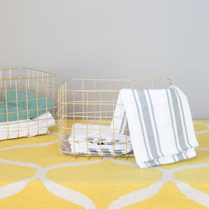 Set Of Two Gold Wire Storage Baskets - storage & organisers
