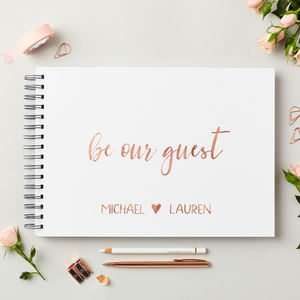 Personalised Rose Gold Wedding Guest Book - albums & guest books