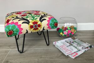 Santa Maria Desert Flower Stool With Hairpin Legs - furniture