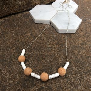 Howlite And Cork Necklace