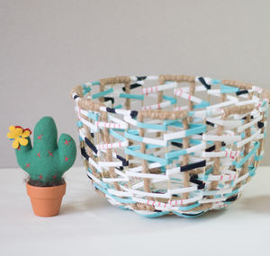 Geometric Handmade Wire Metal Fabric Woven Basket Bowl - kitchen
