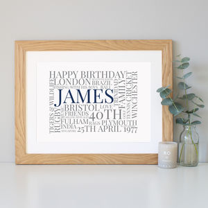 Personalised 40th Birthday Gift - shop by subject