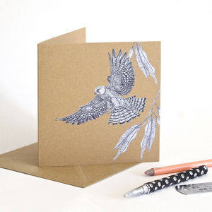 Red Footed Falcon Recycled Greetings Card