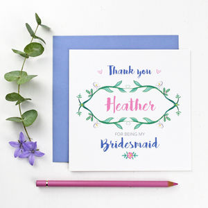 Botanical Bridesmaid Thank You Card - wedding thank you gifts