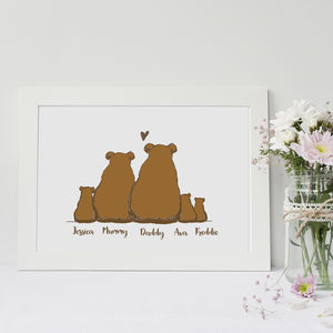 Personalised Bear Family Print - pictures & prints for children