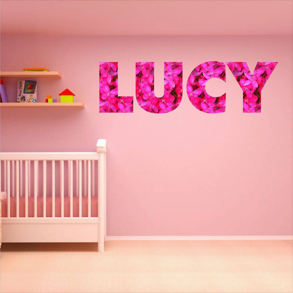 Personalised Pink Floral Letters Wall Sticker Part 82