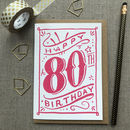 80th Birthday 80th Card Pink Chalk