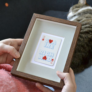 Two Hearts Personalised Vintage Playing Card Print - gifts for him