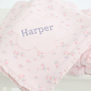 Personalised Flower Ditsy Print Blanket - personalised gifts for babies